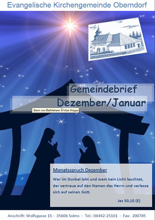 Titelbild des Gemeindebriefes Dezember 2019-Januar 2020