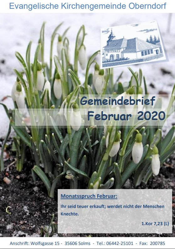 Titelbild des Gemeindebriefes - Februar 2020