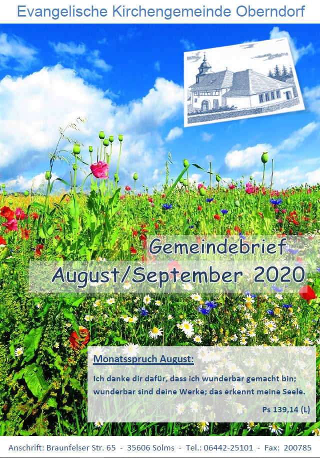 Titelbild vom Gemeindebrief August September 2020