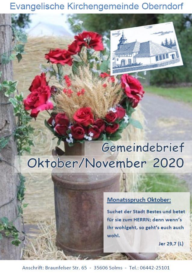 Titelbild Gemeindebrief Oktober November 2020