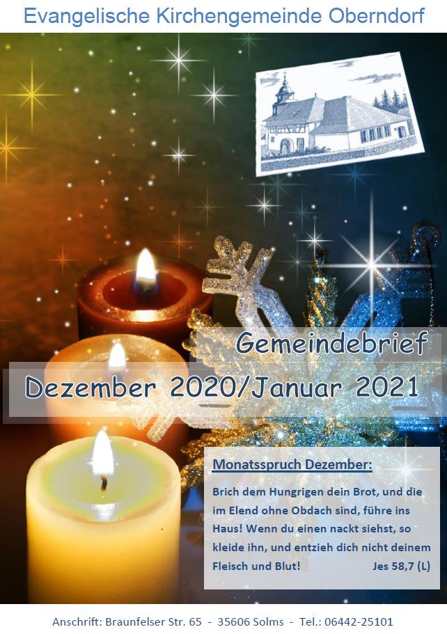 Titelbild vom Gemeindebrief Dezember 2020 - Januar 2021
