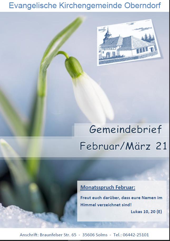 Titelbild vom Gemeindebrief Februar März 2021